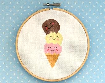 "Ice cream cone cross stitch pattern: ""Cute kawaii ice cream cone"" - cross stitch pdf pattern - INSTANT DOWNLOAD"