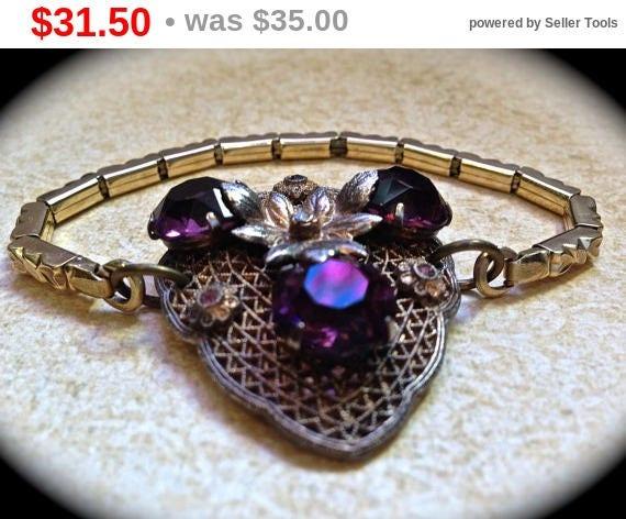 Summer Sale Purple rhinestone bracelet- Vintage Assemblage Bracelet- Watchband Bracelet- Purple Rhinestones- Vintage Jewelry- Vintage Bra...