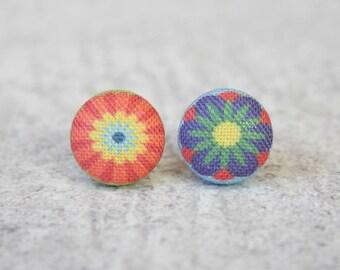 Pop Flowers Fabric Button Earrings