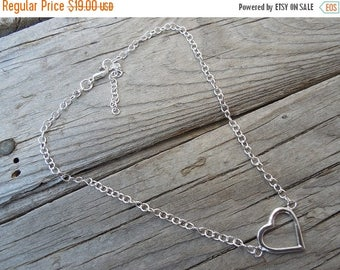 ON SALE Heart anklet handmade in sterling silver