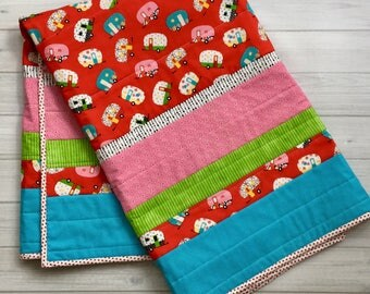 Red baby quilt crib bedding baby blanket vintage campers girls quilt turquoise polka dot
