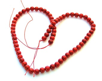 Red Glass Beads, 6mm, 70ct.