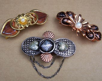 Three vintage 1980s hair barrettes hair slide hair clip hair ornament hair jewelry hair accessory (ZAH)