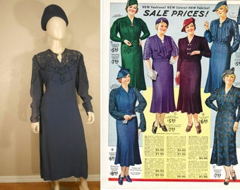 Everyone Loves a Lady - Vintage 1930s Slate Blue Rayon Day Dress w/Mesh Applique Work - 14/16