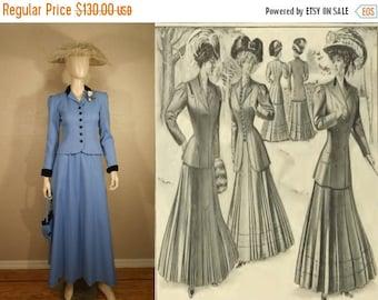 Anniversary Sale 35% Off Le Grande Belle Epoque - Vintage Reproduction 1910 Periwinkle Blue Walking Suit - Theatre/Film 3 Piece Set