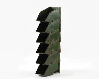 Small Metal Stackbins, Vintage Industrial Decor, Stackable Metal Bins, Desk Organizers, Hardware Bins, Parts Bin, Set of 6