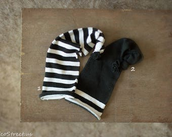 Baby Hat, Baby Boy Hat, Beanie, Black and White Stripe Twin Hats, Cotton Hat, Natural Props, Baby Photo, Newborn Props, Wizard Hat, RTS
