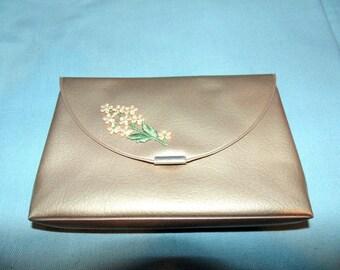 COSMETIC BAG. Make-Up Bag. Compact Purse. Carry-All. Vinyl Makeup Bag. 1950s. 1960s. Small Evening Bag
