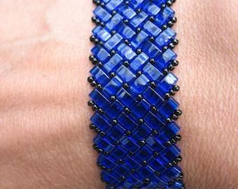 Glass Half Tila Beaded Bracelet in Cobalt Blue and Black Adjustable