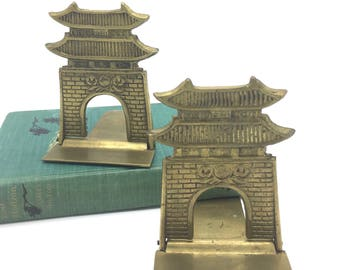 Vintage Brass Foldable Bookends, Brass Pagoda, Asian Temple, Chinoiserrie, Hollywood Regency