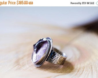 SUMMER SALE Raw Amethyst Crystal Ring, Sterling Silver Cocktail Ring - Sanctuary of Light - Size 7.25, Size 7.5