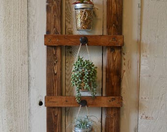 Vertical Plant Ladder Frame, Vertical Hanging Planter Frame, Vertical Planter Frame, Rustic Succulents Planter, Multi-Purpose Ladder Display