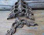 4 Wood appliques corner brackets ornamental pediments Victorian furniture embellishment Supplies