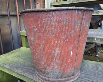 Vintage bucket Red trash can Ribbed Rustic waste Bin Garbage basket office home