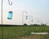 2 Hanging Jars with Hooks , 2 Blue Mason Jars, Hangers, and Shepherd Hooks, CUSTOM ORDER
