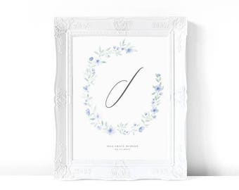 Floral 'I' Print | Blue | Watercolor Print | Personalized Nursery Decor