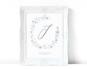 Floral 'J' Print | Blue | Watercolor Print | Personalized Nursery Decor