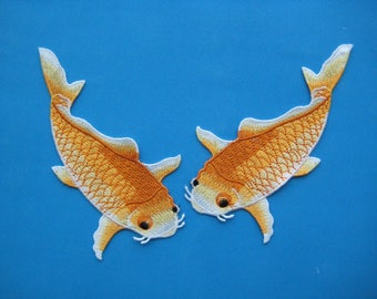 2 pcs Sew-on embroidered Patch Pair of Koi Fish (Orange) 6 inch
