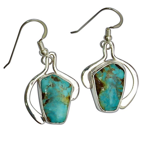 Kingman Turquoise and Sterling Silver Earrings  eturf2916