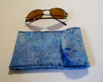 Blue Floral Batik Sunglasses Case