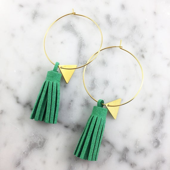 Hoop green glands earring, ring, gold, nickel free, triangle, 3,5cm, les perles rares