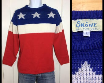 1970's bi-centenniel USA red white blue stars thick pure wool pullover ski sweater size large fair isle Nordic custom crafted Skane Sweden