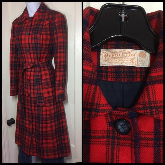 vintage plaid Pendleton belted coat