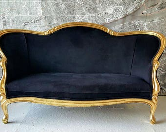 Settee sofa loveaset vintage antique French Victorian gold gilt black ornate