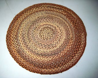 Vintage small round Braided Rug