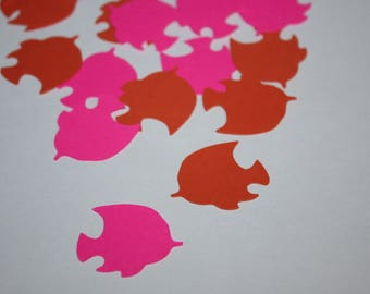 Tropical Fish Die Cut Confetti - 200 pieces Orange and Pink