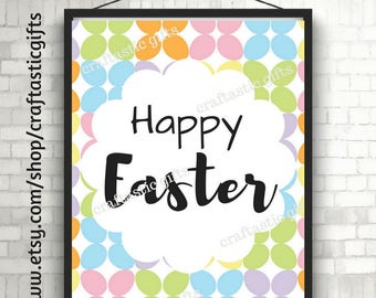 Happy Easter Printable Decor Instant Download Easter Home Decor Easter Party Decor