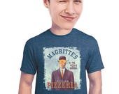 magritte t-shirt, fan of surrealism, pizza, art, art history, fan of rene magritte, geeky art tee, for artist, pizzeria, graphic tee, s-4xl