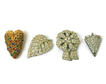 Four Vintage Dress Clips  /  Rhinestone Fur Clasps  / Jewelry Supplies  /  Rhinestone Brooch  /  Scarf Accessory  /  Vintage Jewelry