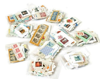 100's of Assorted Postage Stamps  -  Paper Ephemera  -  Scrapbooking Supplies  -  Stamp Collecting - Mixed Media Supply