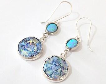 925 Silver Roman Glass Opal Earrings