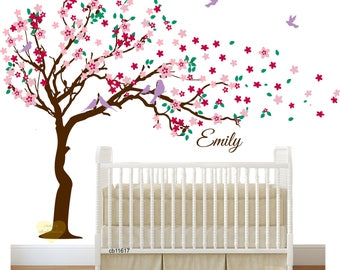 cherry blossom wall decal tree wall decal stickers arbre Nursery tree wall decal Cherry blossom decal Wall decal tree , large Tree decal ,