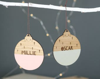 Personalised Christmas Name Bauble | Christmas Decoration | Xmas Present | Laser Cut Wood | Christmas Tree | Christmas Bauble | 1st Xmas