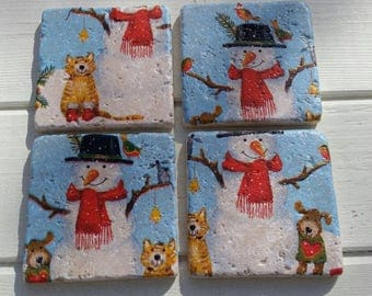Mr Snowman and Friends Stone Coaster Set of 4 Tea Coffee Beer Coasters