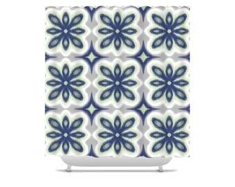 printed ikat shower curtain floral pattern navy bathroom decor green bath curtain