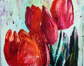 RESERVED Red Tulips Painting, Spring Painting, Flower Art, Red Orange Tulips, Cornish Tulips, 12 x 16, Wall Art, Floral Painting