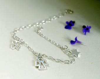 Angel Charm Bracelet, Sterling Silver, Butterfly, Star, Silver Christening Bracelet, Communion Gift, Baptism, First Birthday, Guardian Angel