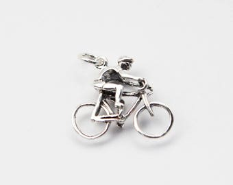 Bike Racer Sterling Silver Charm