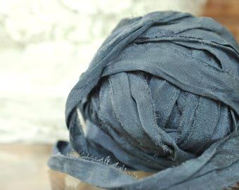 Chiffon Sari Silk Ribbon Yarn, 4 or 5 Yards, Soft Sari Silk, Chiffon Silk, Ribbon Jewelry Supply, Beautiful Steel Blue Colorway, Skin Soft,