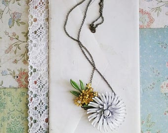 Floral Bib Necklace, Boho Vintage Flower Necklace, Necklace Made From Upcycled Enamel Flower Pins, Vintage Style Jewelry for Women