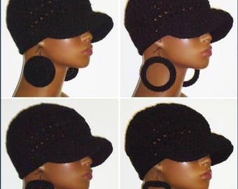 Black Crochet Baseball Cap with Earrings by Razonda Lee Razondalee