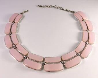 Lisner Necklace, Vintage Jewelry, Vintage Necklace, Lisner Jewelry, Pink Necklace, Pink Lucite Necklace, Lisner Lucite Silver Tone Choker
