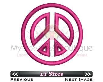 Peace Sign Applique Designs Machine Hippie Symbol Patterns - 14 Sizes - Instant Download