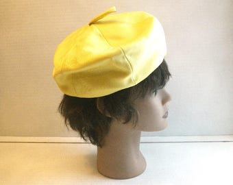 1960s Lemon Yellow Silk Pillbox Hat by Betmar New York Paris