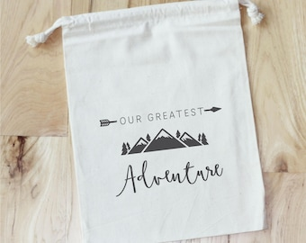 GREATEST ADVENTURE Baby Shower -   Personalized Favor Bags - Set of 10 - Baby Shower Favors - camping - wild
