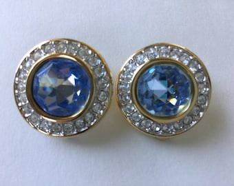 Vintage S.A.L. Cornflower Blue Swarovski Crystal and Clear Rhinestone Clip Earrings